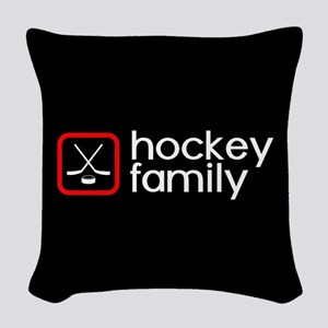 Hockey Family (Red) Woven Throw Pillow