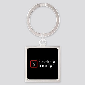 Hockey Family (Red) Square Keychain