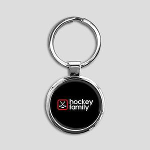 Hockey Family (Red) Round Keychain