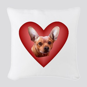 Chiweenie Love Woven Throw Pillow