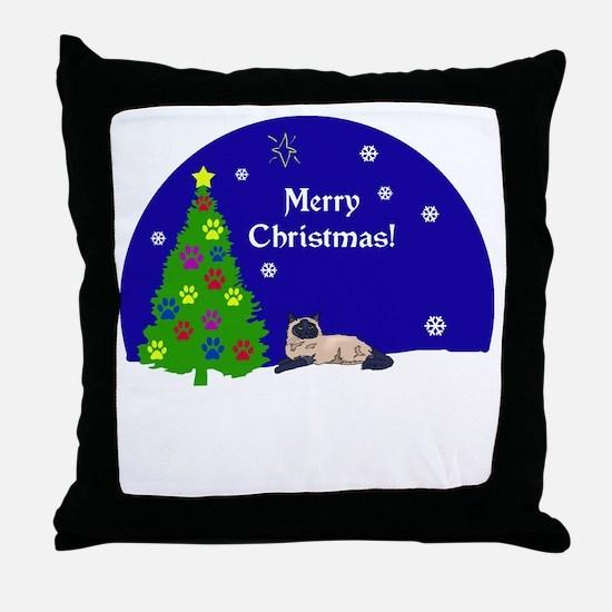 Himalayan Merry Christmas Throw Pillow