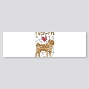 Geometric Shar-Pei Bumper Sticker