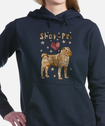 Geometric Shar-Pei Women's Hooded Sweatshirt