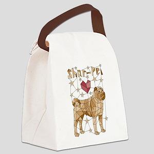 Geometric Shar-Pei Canvas Lunch Bag