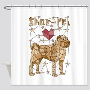 Geometric Shar-Pei Shower Curtain