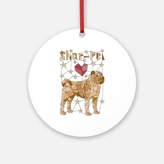 Geometric Shar-Pei Round Ornament