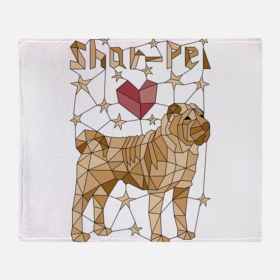 Geometric Shar-Pei Throw Blanket
