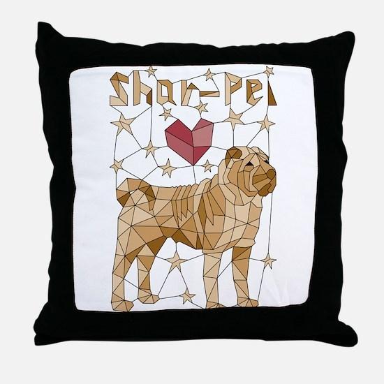 Geometric Shar-Pei Throw Pillow