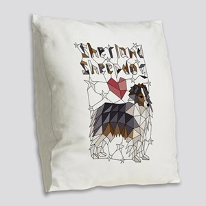 Geometric shetland sheepdog Burlap Throw Pillow