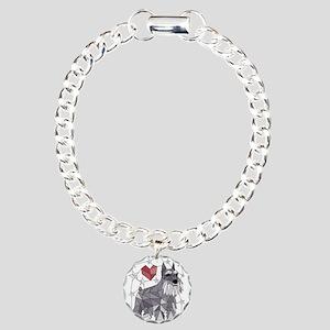 Geometric Schnauzer Charm Bracelet, One Charm