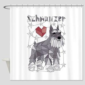 Geometric Schnauzer Shower Curtain