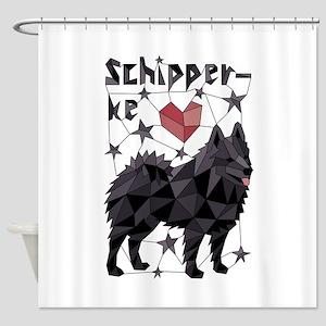 Geometric Schipperke Shower Curtain