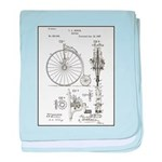 Bicycle Patent Print 1887 baby blanket