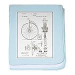 Bicycle Patent Print 1887 baby blanket