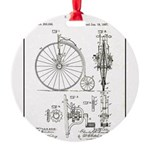 Bicycle Patent Print 1887 Round Ornament