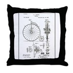 Bicycle Patent Print 1887 Throw Pillow