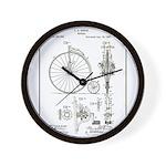 Bicycle Patent Print 1887 Wall Clock