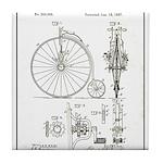 Bicycle Patent Print 1887 Tile Coaster