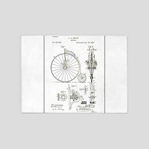 Bicycle Patent Print 1887 5'x7'Area Rug