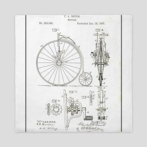 Bicycle Patent Print 1887 Queen Duvet