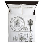 Bicycle Patent Print 1887 Queen Duvet