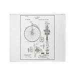 Bicycle Patent Print 1887 Throw Blanket