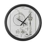 Bicycle Patent Print 1887 Large Wall Clock