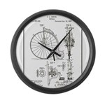 Bicycle Patent Print 1887 Large Wall Clock