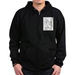 Bicycle Patent Print 1887 Zipped Hoodie