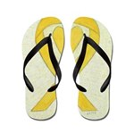 Yellow Awareness Ribbon Heart Flip Flops