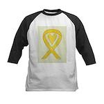 Yellow Awareness Ribbon Heart Baseball Jersey