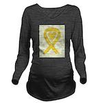 Yellow Awareness Ribbon Heart Long Sleeve Maternit