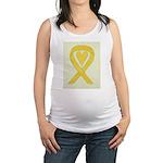 Yellow Awareness Ribbon Heart Maternity Tank Top