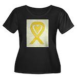Yellow Awareness Ribbon Heart Plus Size T-Shirt