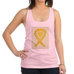 Yellow Awareness Ribbon Heart Racerback Tank Top