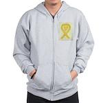 Yellow Awareness Ribbon Heart Zip Hoodie