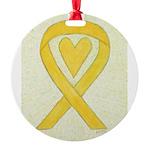 Yellow Awareness Ribbon Heart Ornament