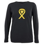 Yellow Awareness Ribbon Heart Plus Size Long Sleev