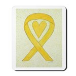 Yellow Awareness Ribbon Heart Mousepad