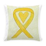 Yellow Awareness Ribbon Heart Everyday Pillow