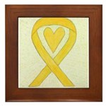 Yellow Awareness Ribbon Heart Framed Tile