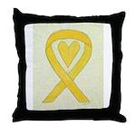Yellow Awareness Ribbon Heart Throw Pillow