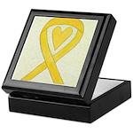 Yellow Awareness Ribbon Heart Keepsake Box