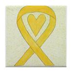 Yellow Awareness Ribbon Heart Tile Coaster
