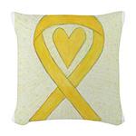 Yellow Awareness Ribbon Heart Woven Throw Pillow