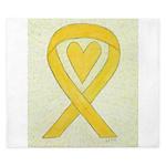 Yellow Awareness Ribbon Heart King Duvet