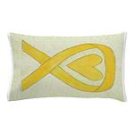Yellow Awareness Ribbon Heart Pillow Case