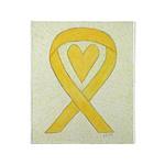Yellow Awareness Ribbon Heart Throw Blanket