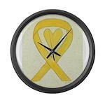 Yellow Awareness Ribbon Heart Large Wall Clock