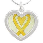 Yellow Awareness Ribbon Heart Necklaces